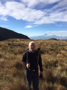 16.09.2015_ Joe at the campsite with a fuming Cotopaxi in the background