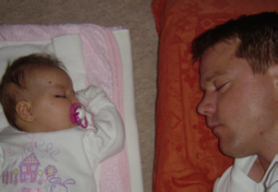 Fay and Daddy recovering after 5 day hospital stay, Fay 3mths old