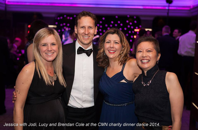 Jessica with Jodi, Lucy and Brendan Cole at the CMN charity dinner dance 2014.